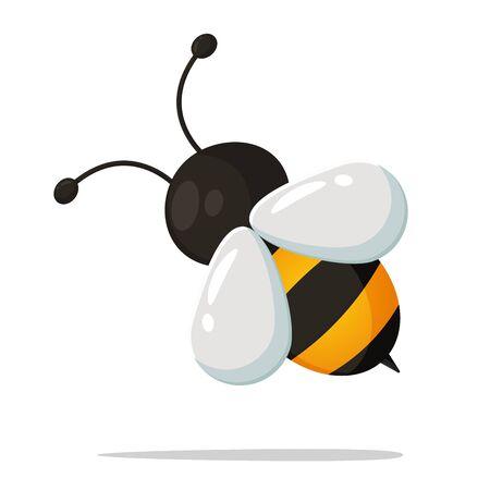 Cute little bee cartoon that looks simple. vector Illustration.