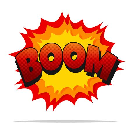 Comic Boom. Vector cartoon sound effect Noisy boom Isolated on white background.