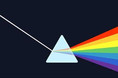 Optics physics. The white light shines through the prism. Produce rainbow colors in illustrator.