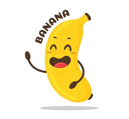 Banana cartoon. Vector yellow banana fruit is laughing happily. Vektorové ilustrace