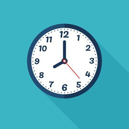 Ikona zegara. Wektor prosty nowoczesny zegar ścienny Alert czasu pracy.