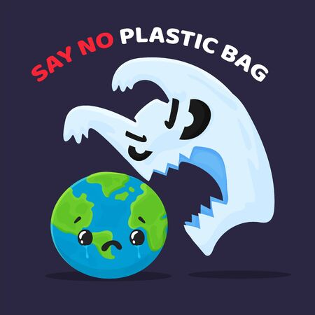 Vector cartoon plastic waste that is hurting the world And the campaign to stop using plastic bags