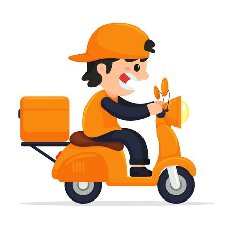 Cargo staff drive motorcycle delivery. The concept of online product delivery via mobile application