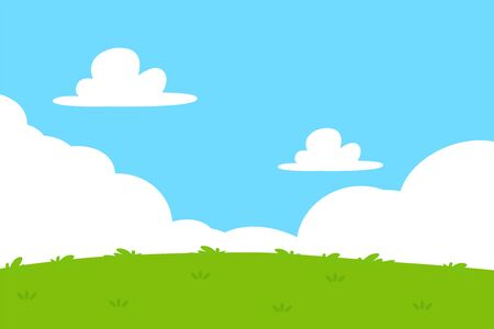 Flat grass and sky background. Cartoon outdoor park background with green grassland Four bright sky.
