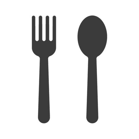 Spoon and fork icon. Vector shadow of a spoon and fork for eating. isolate on white background.