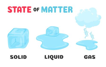 Changing the status of matter. Ice cubes change their state from solid to liquid and gas with temperature. Illustration