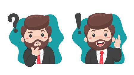 Business people who are confused when making certain decisions With a question mark on the head Ilustrace