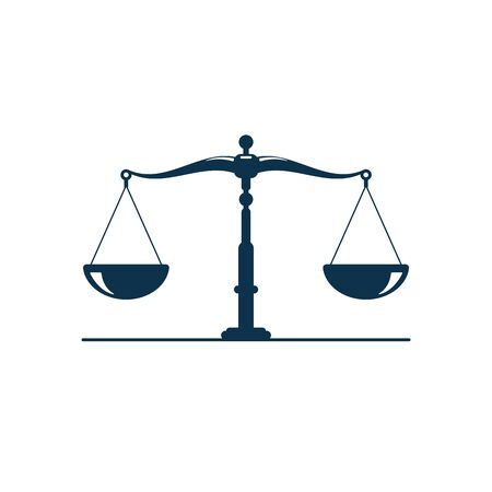 Justice scales icon. Vector golden legal balance scales isolate on white background.