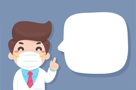 Vector cartoon doctor raised his hand up Teach you how to wear a dust mask to prevent PM2.5 dust.