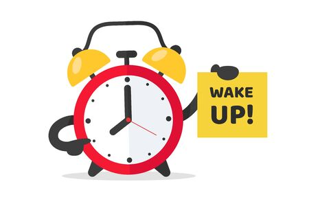 Alarm clock to wake up to work. The red alarm clock vector points to a note that wakes up. Illustration