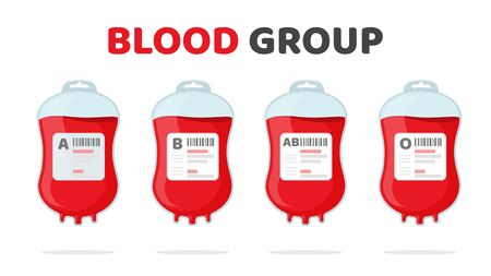 Blood Group Vector. Various blood bag A B AB O Blood donation ideas to help the injured.