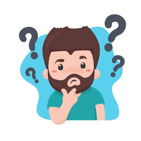 The man who is confused and curious Want to find an answer With a question mark on the head