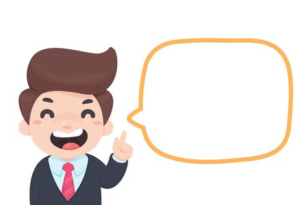 Vector cartoon businessman holding his finger up Suggest business ideas with blank text boxes.