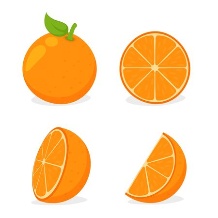 Orang fruit. Oranges cut in half and then squeezed orange juice Isolated on white background.