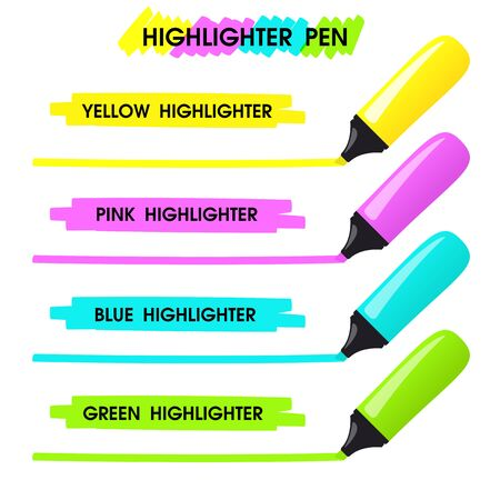 Yellow highlighter Are drawing a long line over the text to highlight your message. 向量圖像