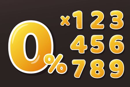 Golden Yellow Honey Figures Set With percent sign and multiply numbers. Isolate on background. Vektorgrafik