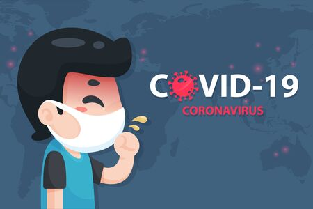 Vector cartoon young Chinese man has a high fever and cough from the flu of the corona virus Vettoriali