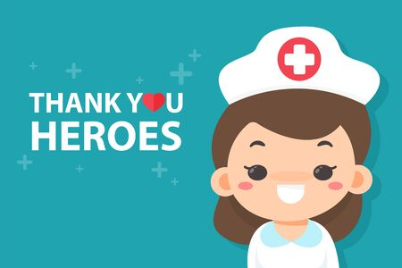 Cartoon nurse happy to see a message thanking the hero Tired of working during the corona virus pandemic.