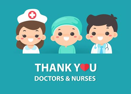 Vector Cartoons thank the doctors and nurses who work hard in the fight against the corona virus. Ilustración de vector
