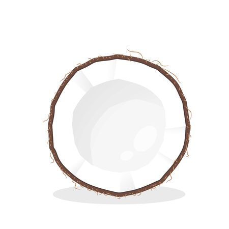 Vector cut coconut. Cut the coconut in half until you see the white flesh inside to squeeze the coconut milk.