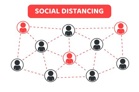 Social distancing. Space gap labels for conversing with other people By having clear glass to prevent corona virus.