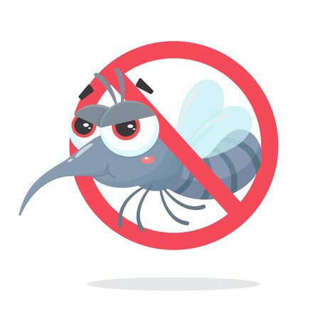 Vector cartoon mosquito sucking the blood of people, Aedes mosquitoes carry dengue fever to humans.