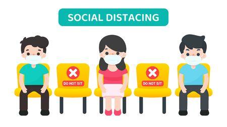 Distanciation sociale. Des gens de dessins animés vectoriels assis sur une chaise espacés les uns des autres, empêchant la propagation du virus corona.