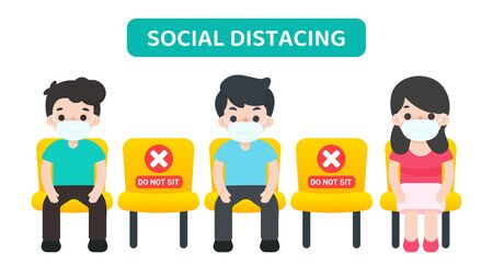 Social distancing. Vector cartoon people sitting in a chair spaced against others, preventing the spread of the corona virus. 일러스트