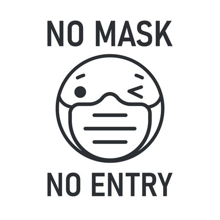 no face mask no entry. The label does not provide service to people who do not wear a mask. Stock Illustratie