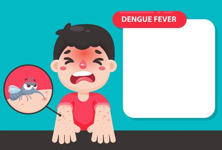 The child has a high fever and a red rash on his arm. Due to being bitten by a mosquito to dengue fever.