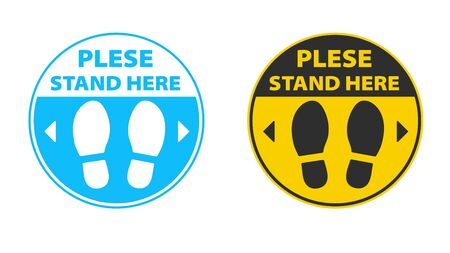 Social distance. Footprints determine the standing position to keep the distance of people waiting in public queues.