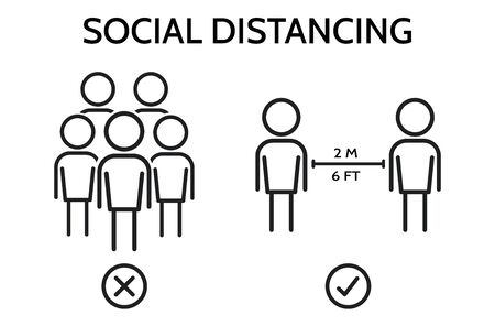 Social distancing. Please Keep Your Distance sign to alert people to leave 2 meters between each other.