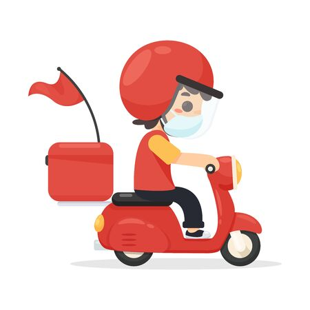 Cartoon Delivery staff Riding a motorcycle Exporting products