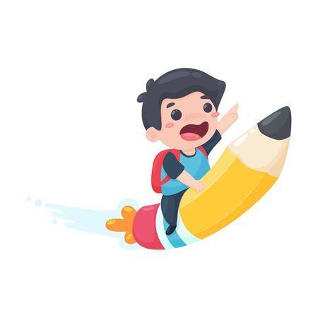 The boy rode in a wooden pencil instead of a rocket to fly out of the world. Science learning concept.