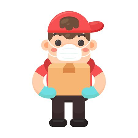 Vector cartoon delivery staff who carried a box with a happy delivery.