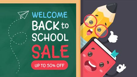 Vector cartoon pencil and pool Write a welcome message back to school on the blackboard.