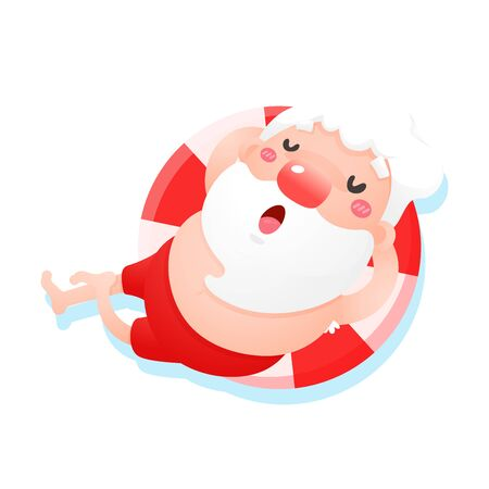 Vector cartoon Santa Claus relaxes while lying on the sea in summer. Ilustrace