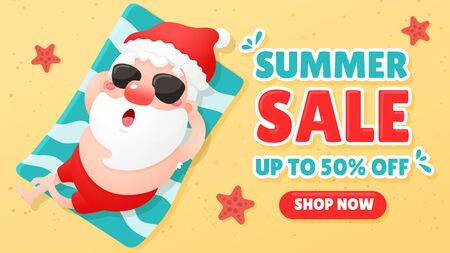 Vector cartoon santa claus is relaxing while sunbathing on the beach in summer The concept of summer promotion Ilustrace