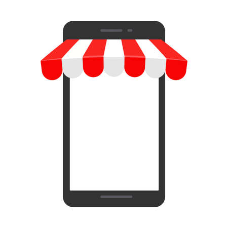 mobile phones with an awning protruding Online shopping concept