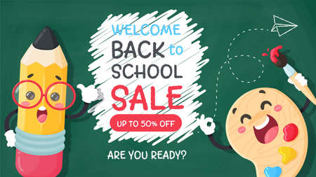 Vector cartoon pencil Write a welcome message back to school on the blackboard.