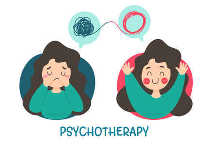 Psychotherapy. A woman with mental problems causes sadness and needs treatment in order to have a good mood. Ilustrace