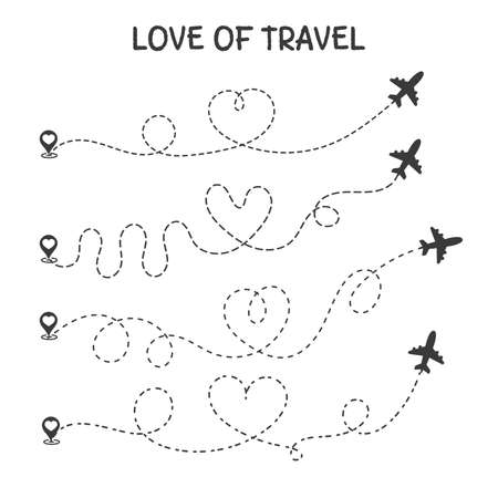 Love to travel The plane travel route is the heart of a romantic lover. Ilustrace