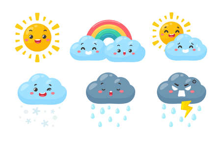 Cute weather icon set. Weather forecast icon isolated on white background.
