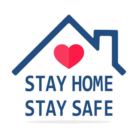 Stay home icon Vector house roof that protects the heart. The concept of staying at home to prevent coronavirus