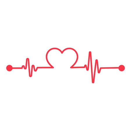Red heart rate graph When exercising. Concept of saving the patient's life. isolate on white background.