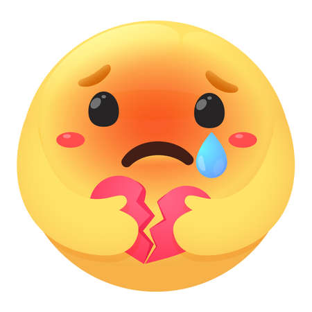 Emoji icon. Vector cartoon sad mood is crying With blue tear drops Hold a broken pink heart. Ilustrace
