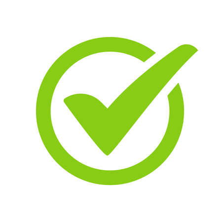 Green check mark icon vector On the circular checkbox For checking information