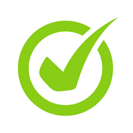 Green check mark icon vector On the circular checkbox For checking information