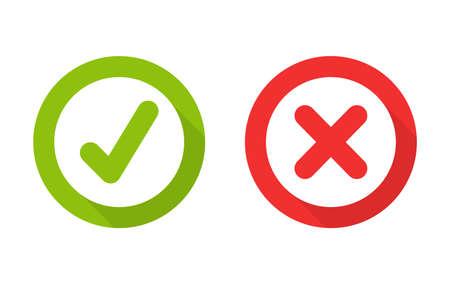 Green check mark and red wrong On the checked box. True or false Ilustración de vector