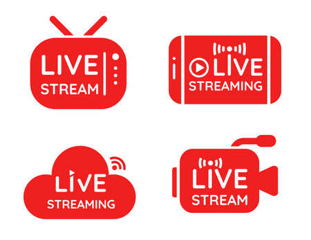 Live streaming symbol set Online broadcast icon The concept of live streaming for selling on social media.